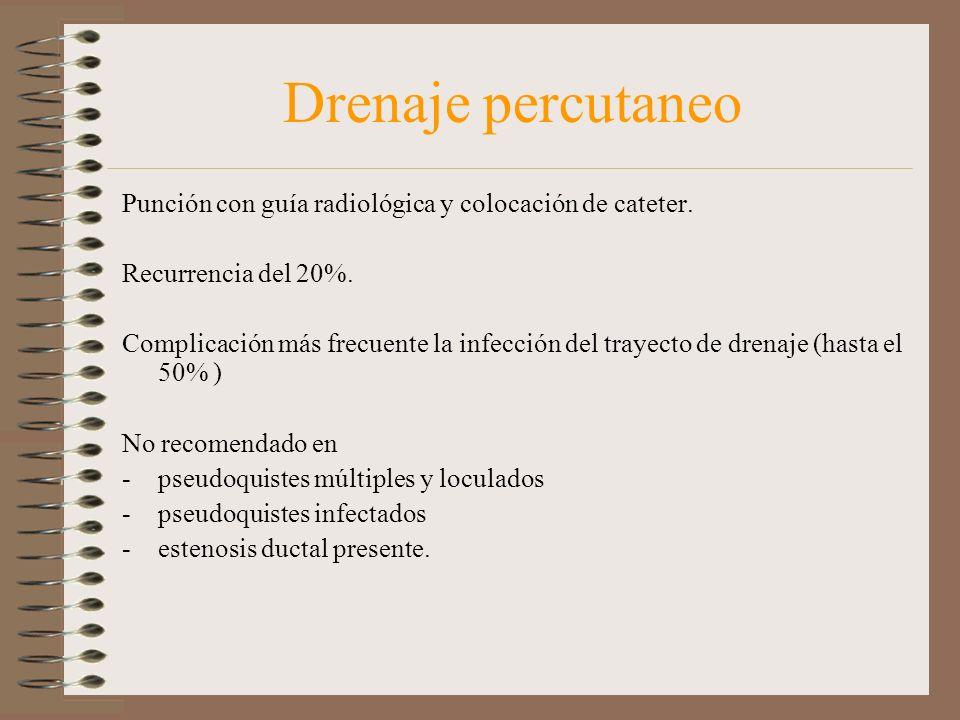 Drenaje percutaneo Punción con guía radiológica y colocación de cateter. Recurrencia del 20%.