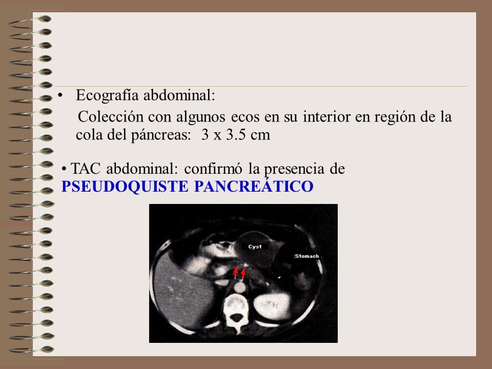 Ecografía abdominal: Colección con algunos ecos en su interior en región de la cola del páncreas: 3 x 3.5 cm.