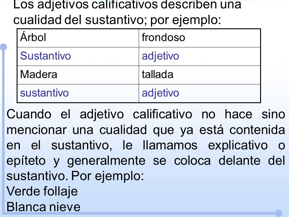 Los adjetivos calificativos describen una