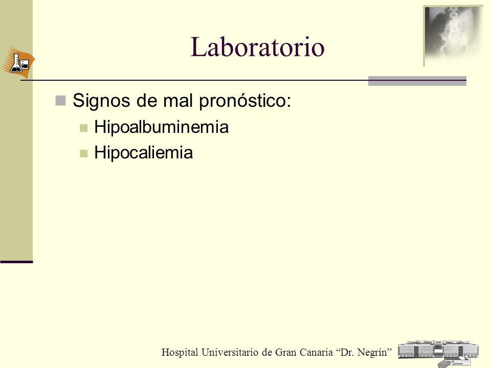 Laboratorio Signos de mal pronóstico: Hipoalbuminemia Hipocaliemia
