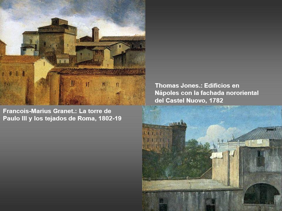 Thomas Jones.: Edificios en Nápoles con la fachada nororiental del Castel Nuovo, 1782