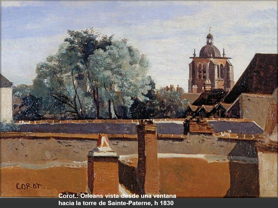 Corot.: Orleans vista desde una ventana hacia la torre de Sainte-Paterne, h 1830