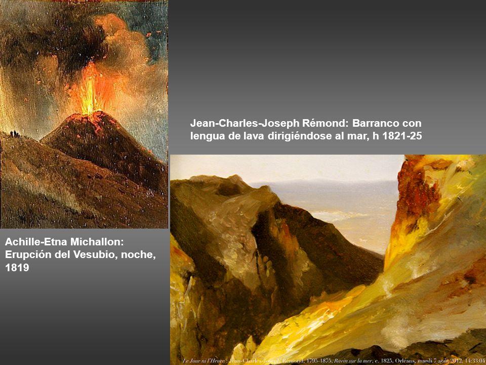 Jean-Charles-Joseph Rémond: Barranco con lengua de lava dirigiéndose al mar, h 1821-25