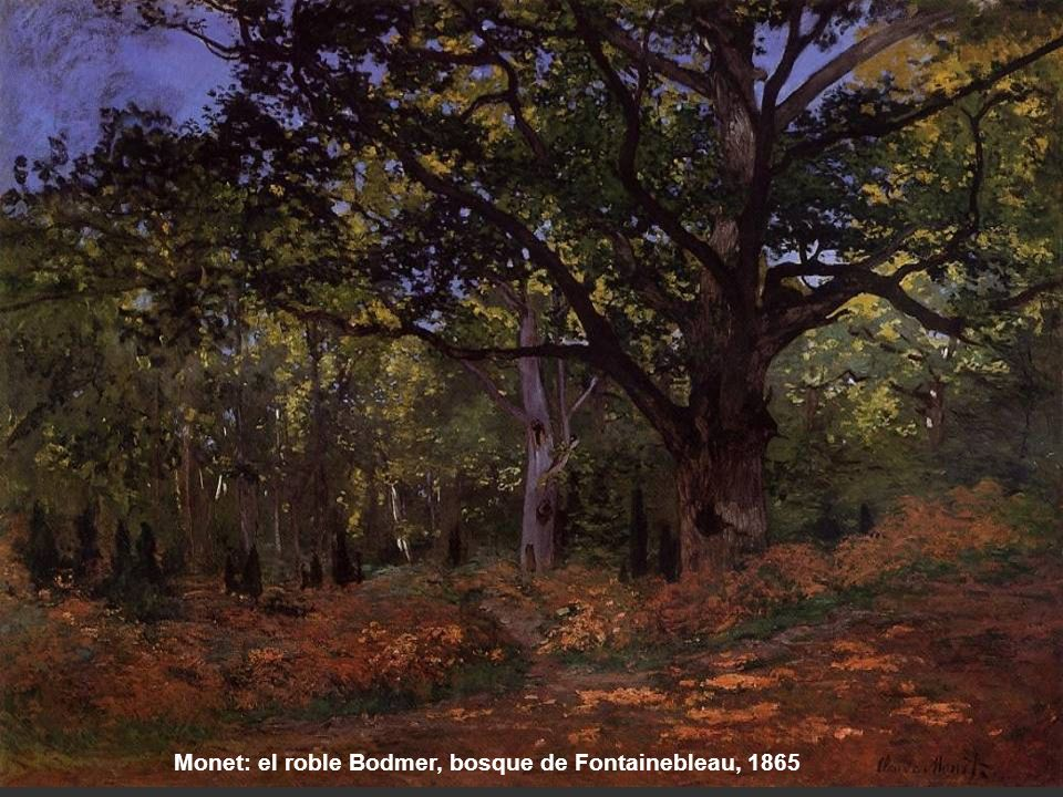Monet: el roble Bodmer, bosque de Fontainebleau, 1865