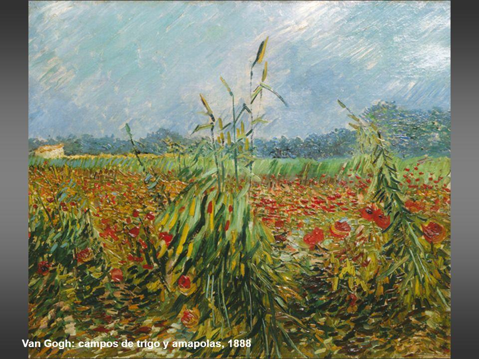 Van Gogh: campos de trigo y amapolas, 1888