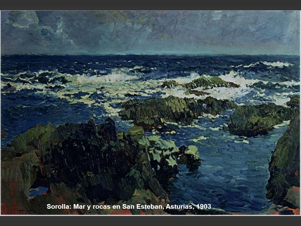 Sorolla: Mar y rocas en San Esteban, Asturias, 1903