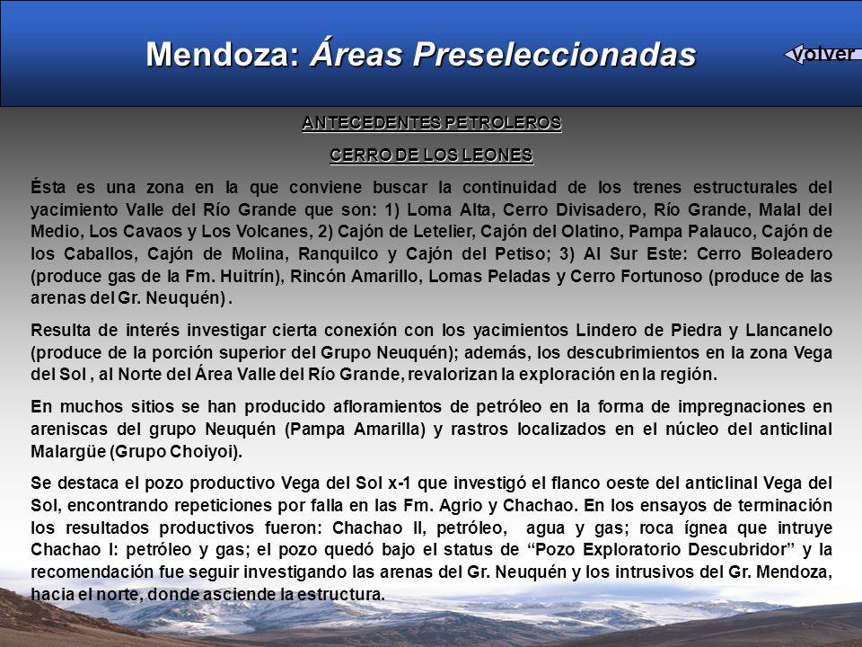 Mendoza: Áreas Preseleccionadas ANTECEDENTES PETROLEROS