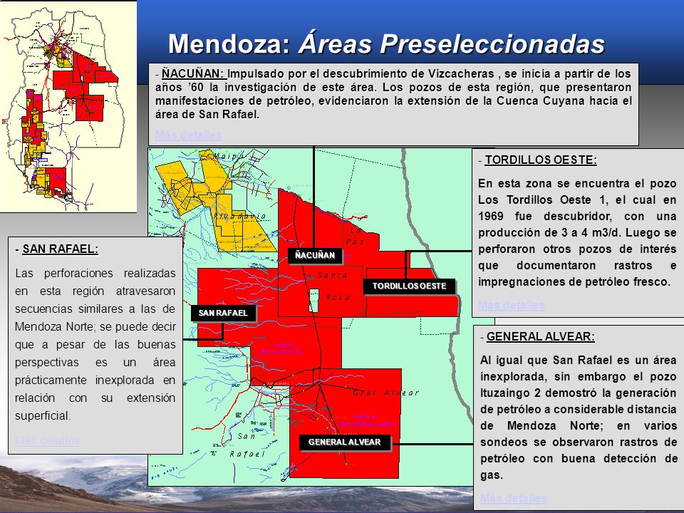 Mendoza: Áreas Preseleccionadas
