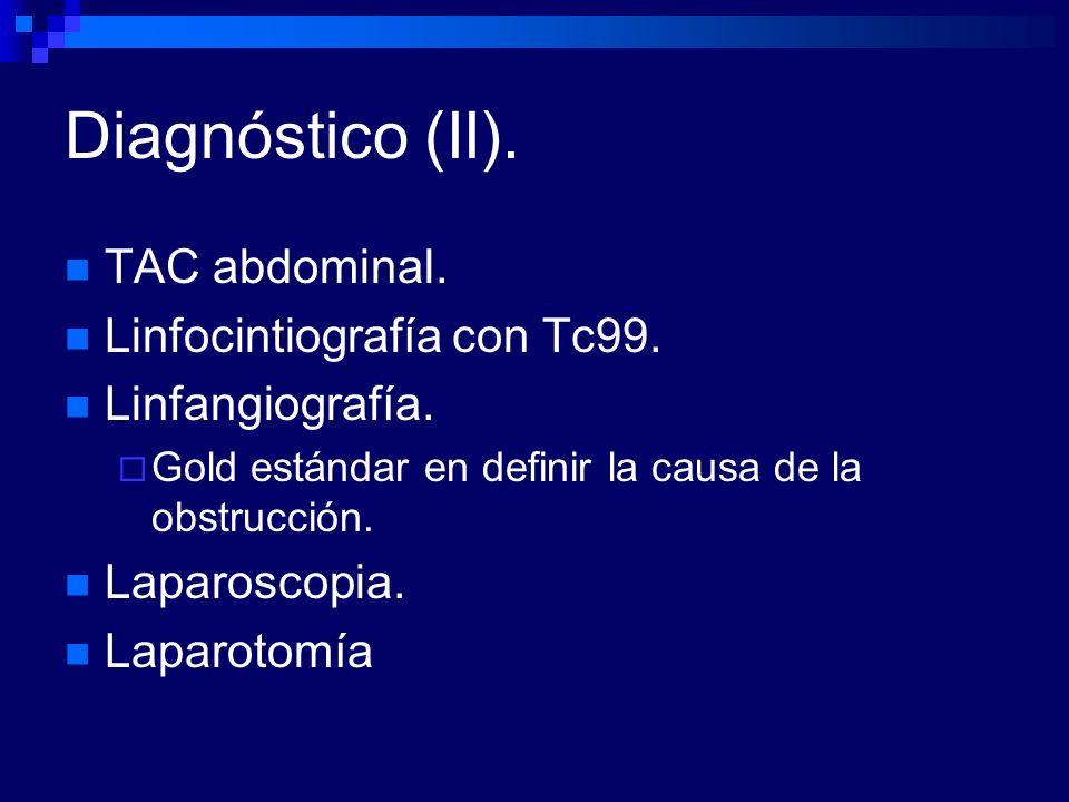 Diagnóstico (II). TAC abdominal. Linfocintiografía con Tc99.