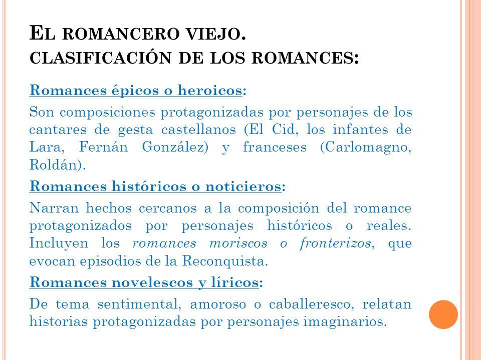 El romancero viejo. clasificación de los romances: