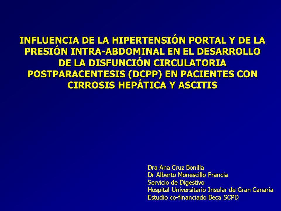 INFLUENCIA DE LA HIPERTENSIÓN PORTAL Y DE LA PRESIÓN INTRA-ABDOMINAL EN EL DESARROLLO DE LA DISFUNCIÓN CIRCULATORIA POSTPARACENTESIS (DCPP) EN PACIENTES CON CIRROSIS HEPÁTICA Y ASCITIS