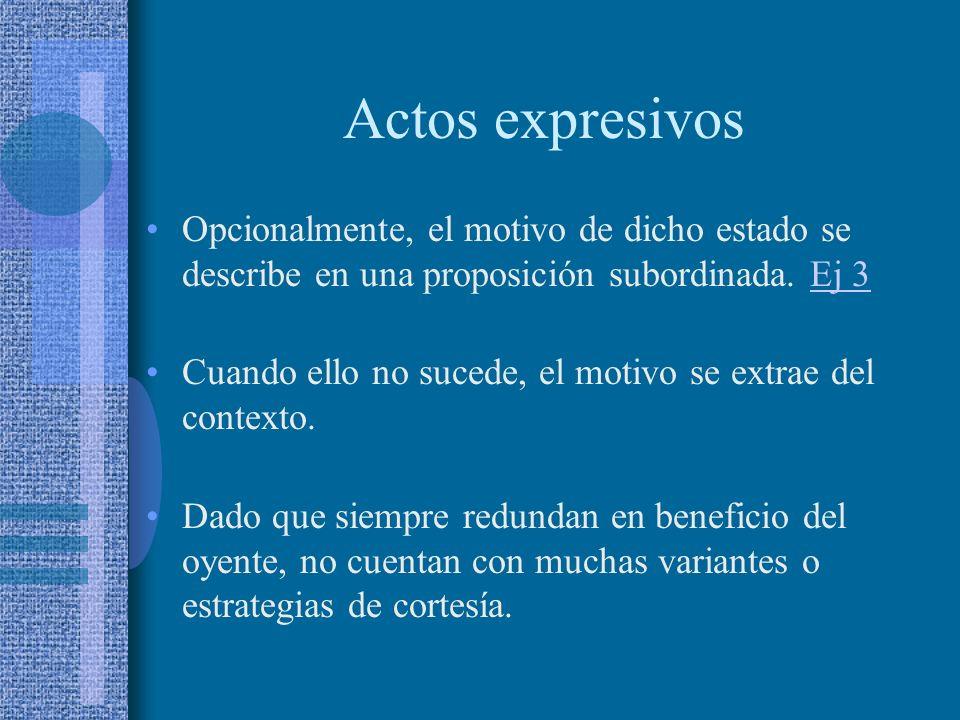 Actos expresivos Opcionalmente, el motivo de dicho estado se describe en una proposición subordinada. Ej 3.