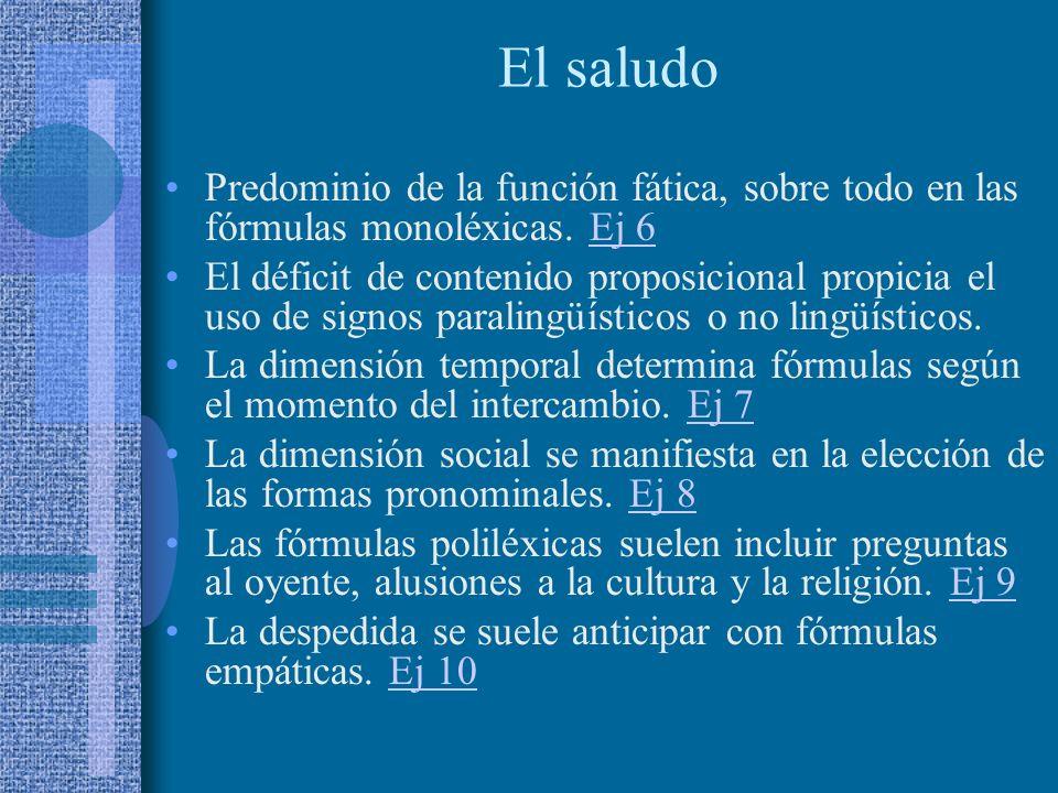 El saludo Predominio de la función fática, sobre todo en las fórmulas monoléxicas. Ej 6.