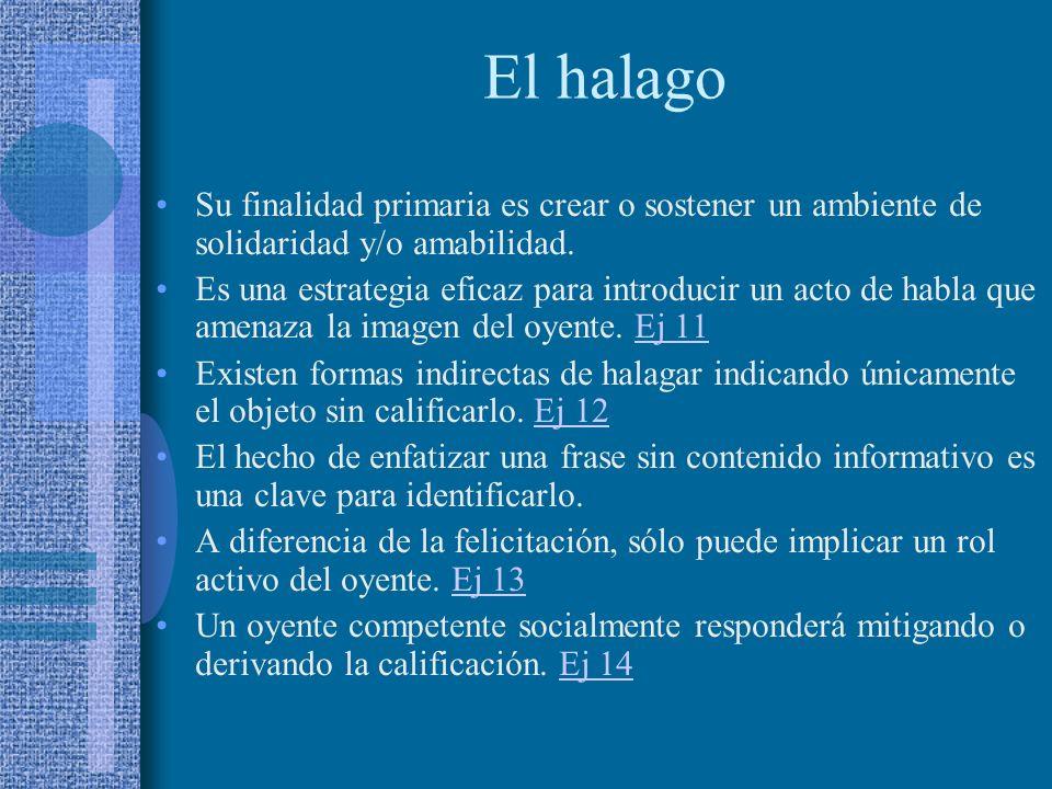 El halago Su finalidad primaria es crear o sostener un ambiente de solidaridad y/o amabilidad.