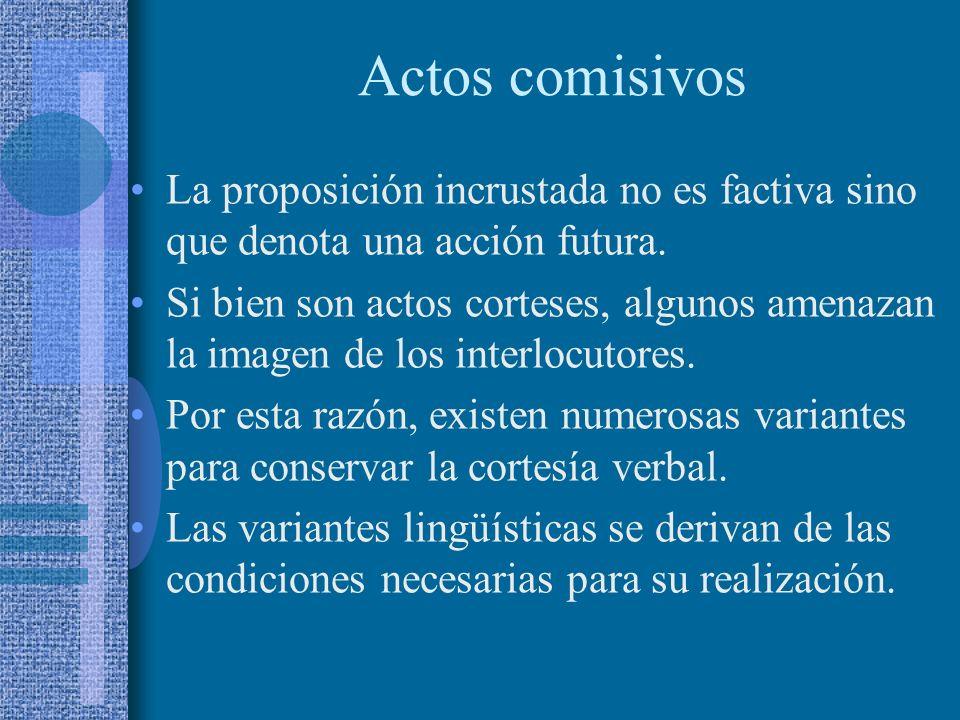 Actos comisivos La proposición incrustada no es factiva sino que denota una acción futura.