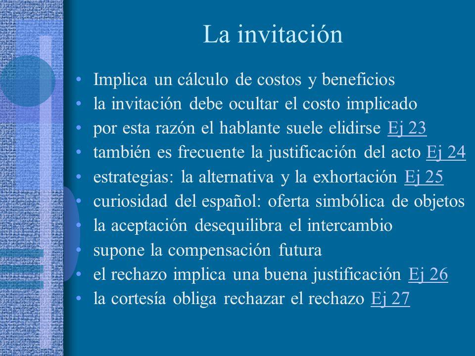 La invitación Implica un cálculo de costos y beneficios