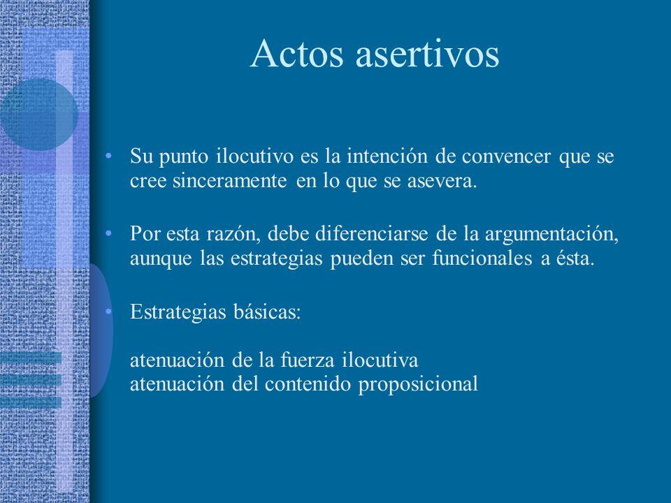 Actos asertivos Su punto ilocutivo es la intención de convencer que se cree sinceramente en lo que se asevera.