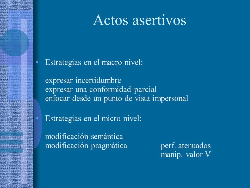 Actos asertivos Estrategias en el macro nivel: expresar incertidumbre expresar una conformidad parcial enfocar desde un punto de vista impersonal.