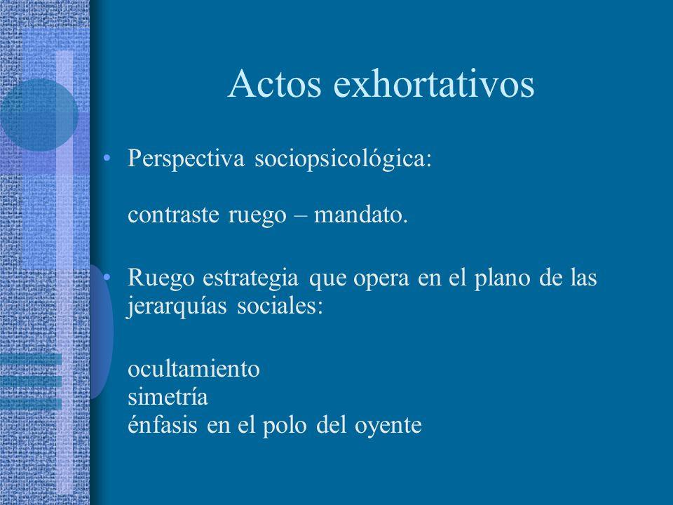 Actos exhortativos Perspectiva sociopsicológica: contraste ruego – mandato. Ruego estrategia que opera en el plano de las jerarquías sociales: