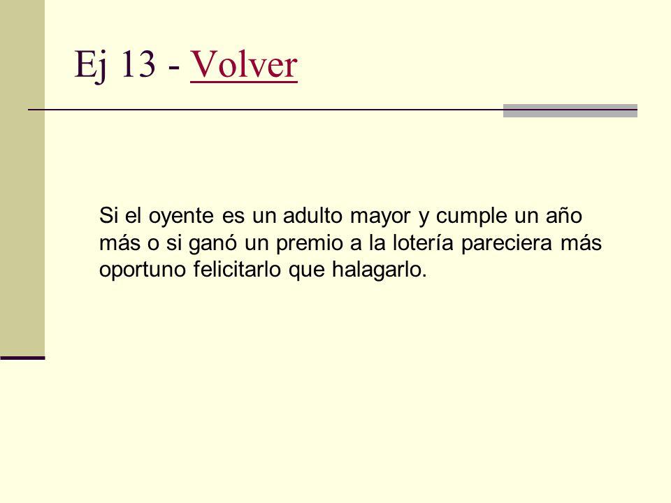 Ej 13 - Volver Si el oyente es un adulto mayor y cumple un año más o si ganó un premio a la lotería pareciera más oportuno felicitarlo que halagarlo.