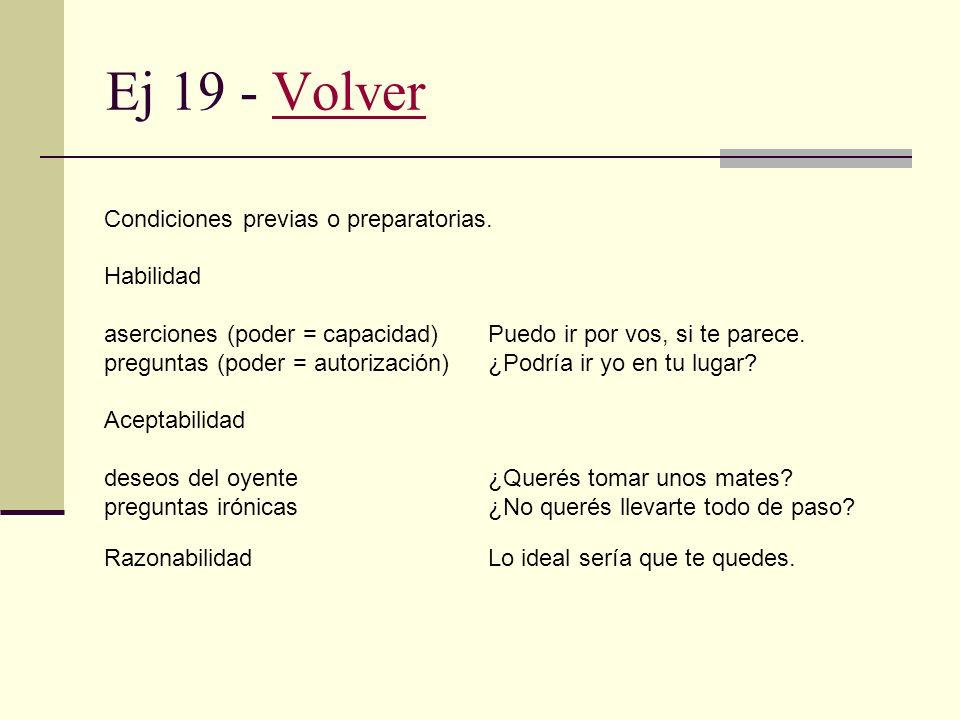 Ej 19 - Volver Condiciones previas o preparatorias. Habilidad