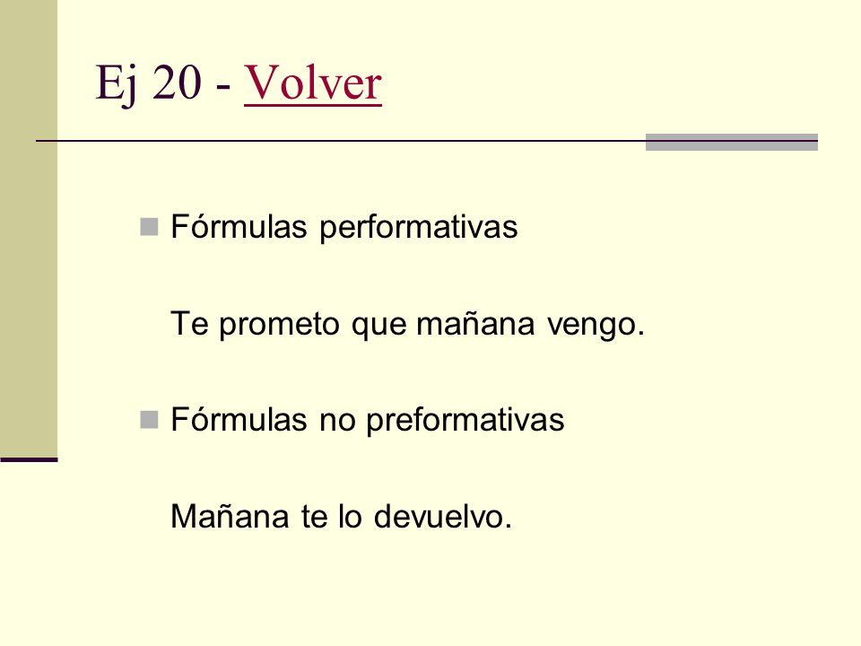 Ej 20 - Volver Fórmulas performativas Te prometo que mañana vengo.