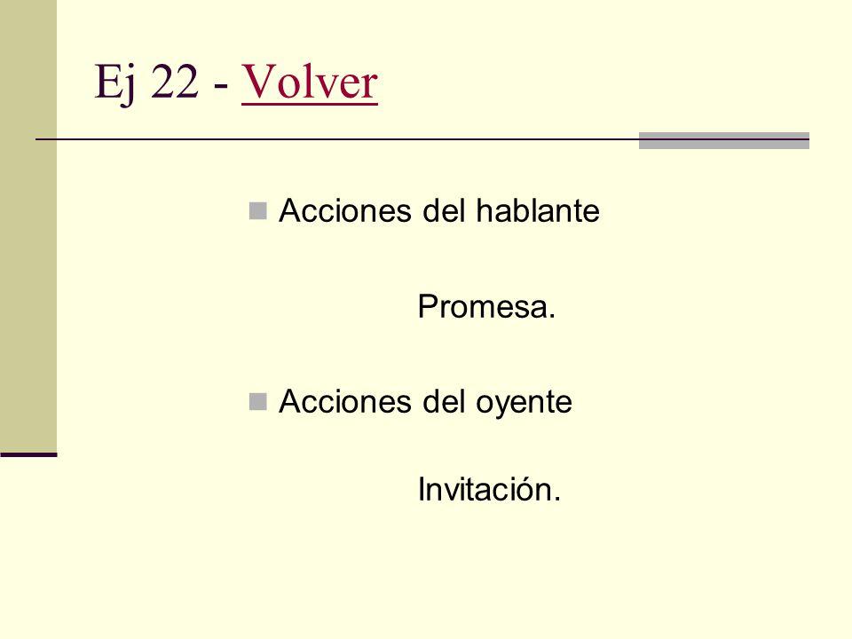 Ej 22 - Volver Acciones del hablante Promesa. Acciones del oyente