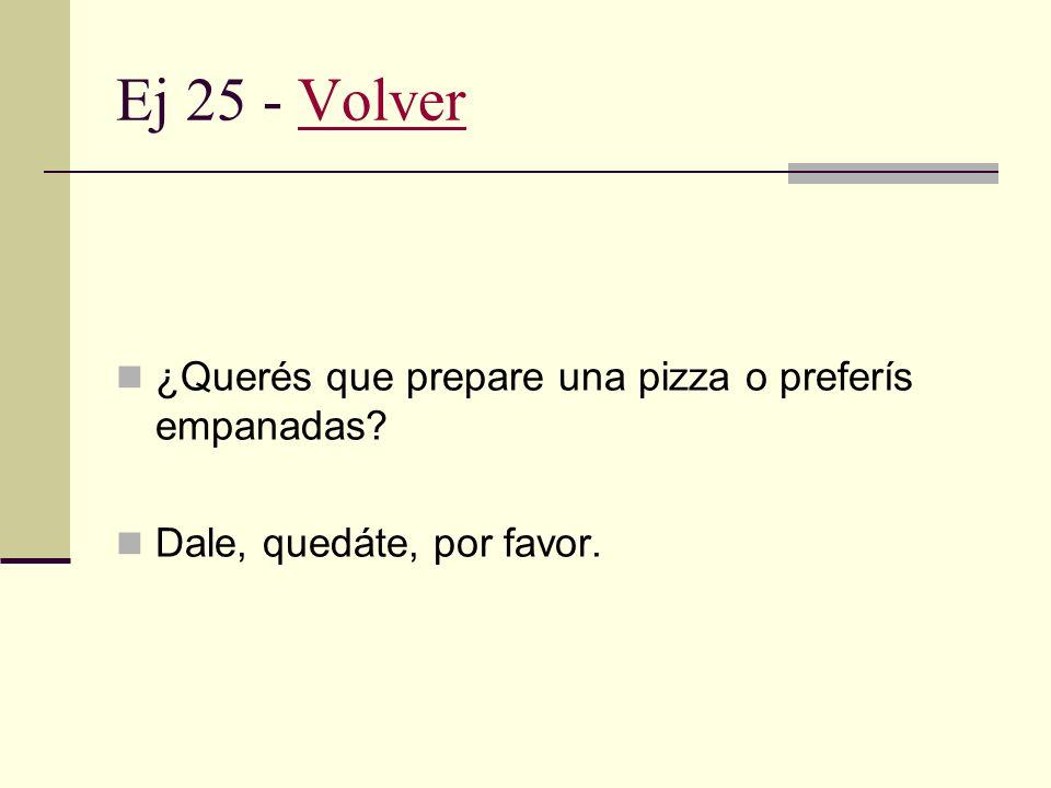 Ej 25 - Volver ¿Querés que prepare una pizza o preferís empanadas