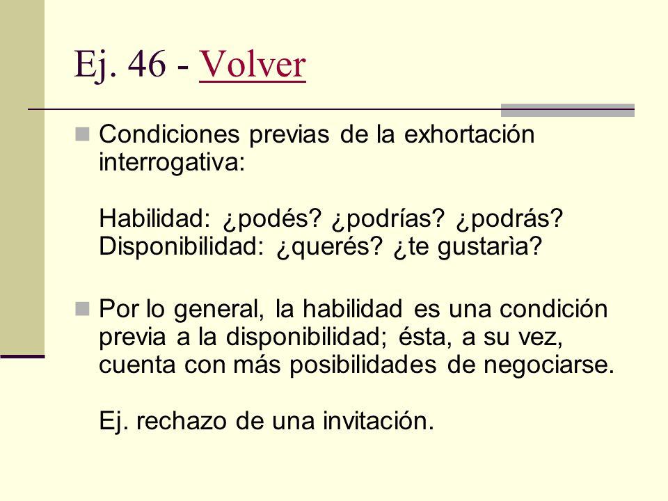 Ej. 46 - Volver Condiciones previas de la exhortación interrogativa: Habilidad: ¿podés ¿podrías ¿podrás Disponibilidad: ¿querés ¿te gustarìa
