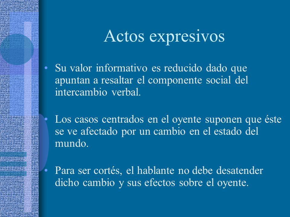 Actos expresivos Su valor informativo es reducido dado que apuntan a resaltar el componente social del intercambio verbal.