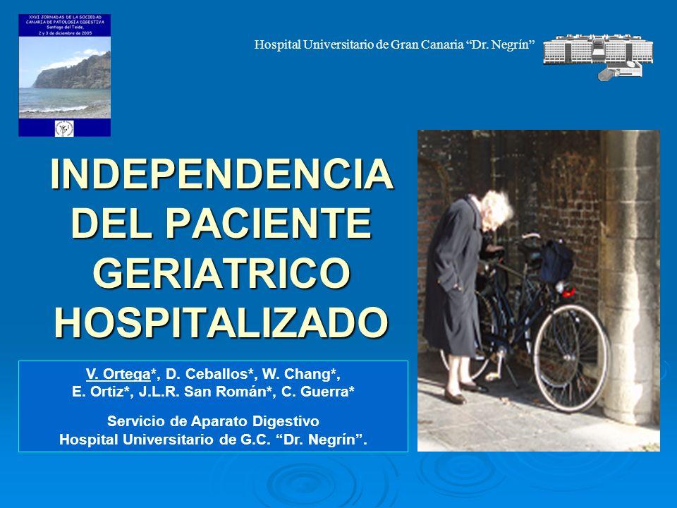 INDEPENDENCIA DEL PACIENTE GERIATRICO HOSPITALIZADO