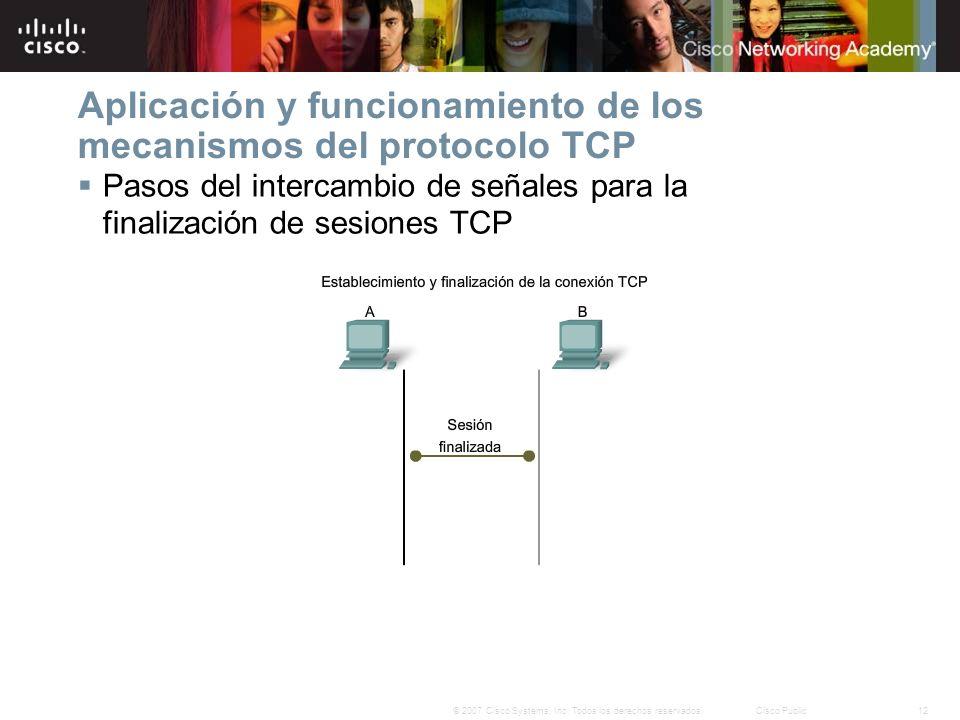 Aplicación y funcionamiento de los mecanismos del protocolo TCP