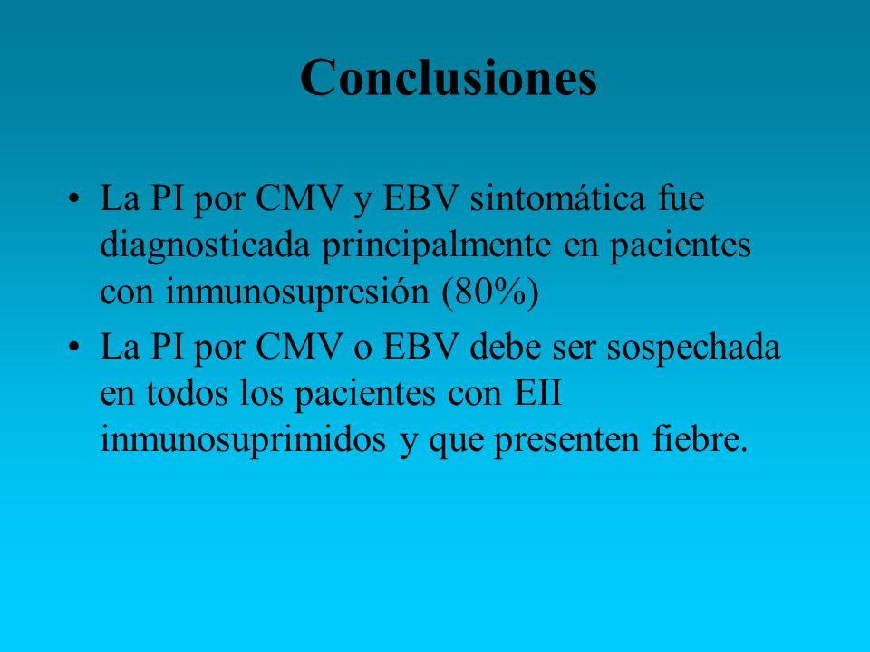 ConclusionesLa PI por CMV y EBV sintomática fue diagnosticada principalmente en pacientes con inmunosupresión (80%)