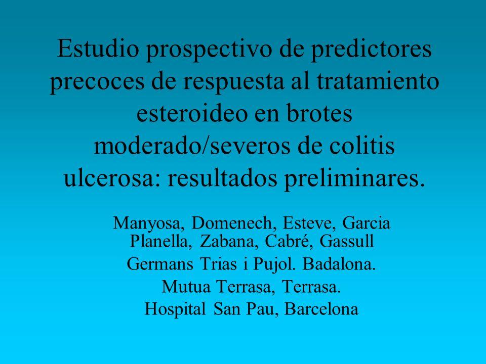 Estudio prospectivo de predictores precoces de respuesta al tratamiento esteroideo en brotes moderado/severos de colitis ulcerosa: resultados preliminares.