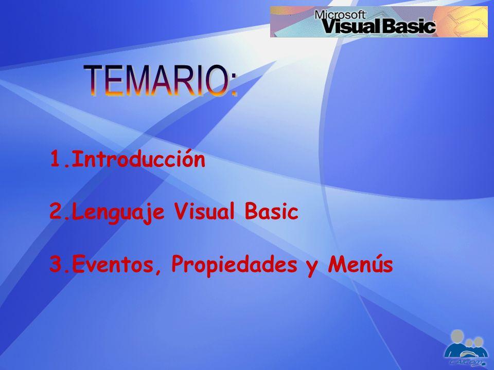 TEMARIO: Introducción Lenguaje Visual Basic