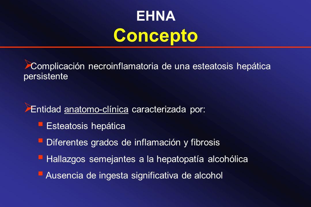 EHNA Concepto. Complicación necroinflamatoria de una esteatosis hepática persistente. Entidad anatomo-clínica caracterizada por:
