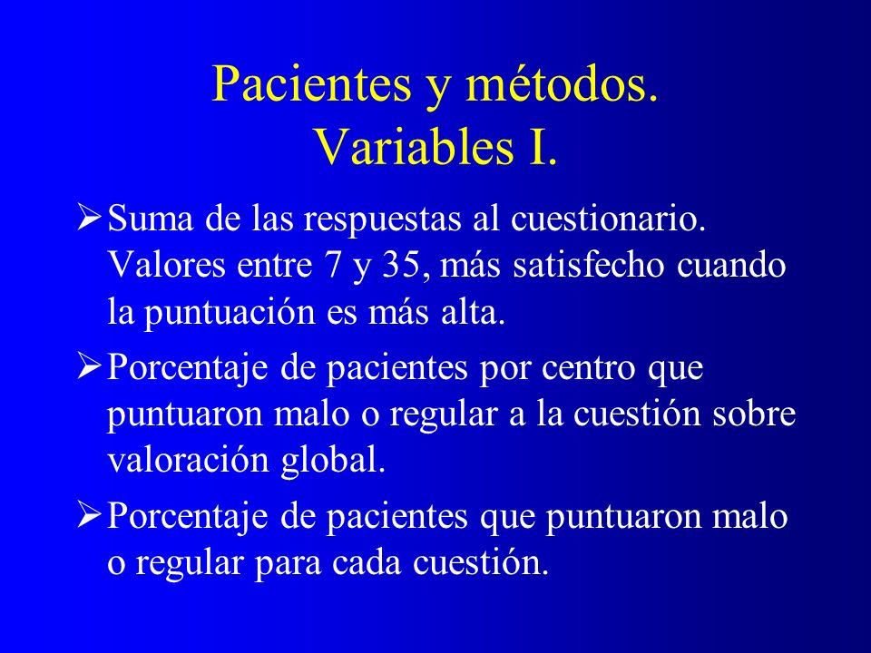 Pacientes y métodos. Variables I.