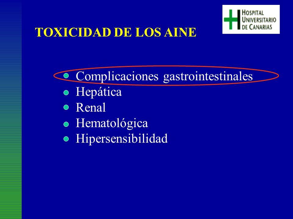 TOXICIDAD DE LOS AINE Complicaciones gastrointestinales.