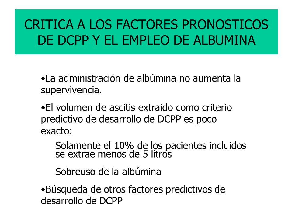 CRITICA A LOS FACTORES PRONOSTICOS DE DCPP Y EL EMPLEO DE ALBUMINA