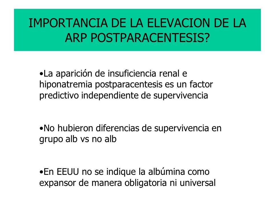 IMPORTANCIA DE LA ELEVACION DE LA ARP POSTPARACENTESIS