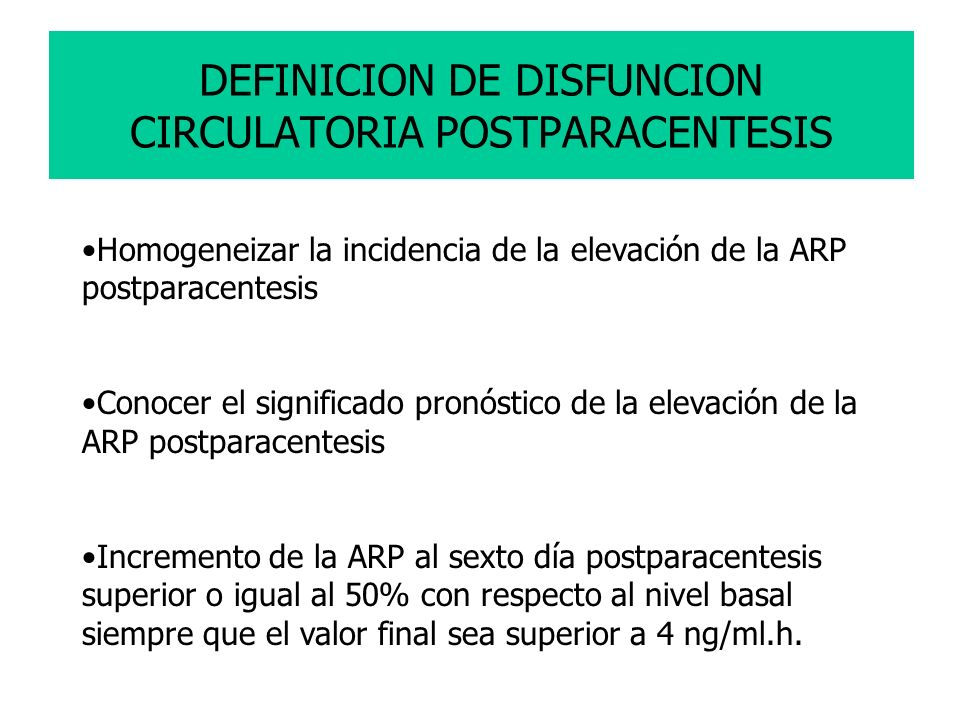 DEFINICION DE DISFUNCION CIRCULATORIA POSTPARACENTESIS