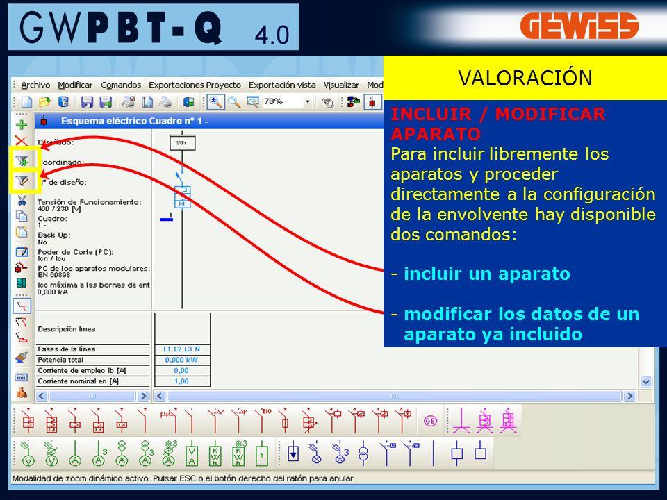VALORACIÓN INCLUIR / MODIFICAR APARATO
