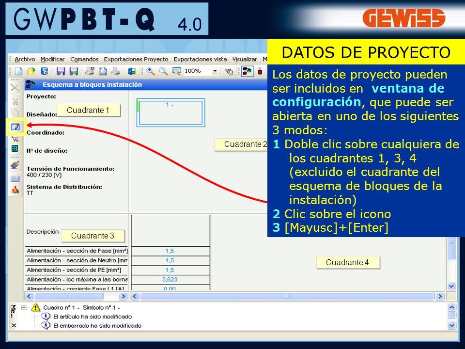 DATOS DE PROYECTOLos datos de proyecto pueden ser incluidos en ventana de configuración, que puede ser abierta en uno de los siguientes 3 modos: