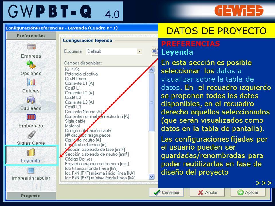 DATOS DE PROYECTO PREFERENCIAS Leyenda
