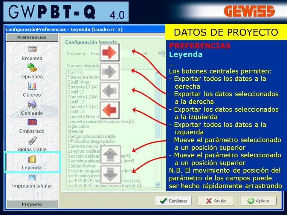 DATOS DE PROYECTO PREFERENCIAS Leyenda …