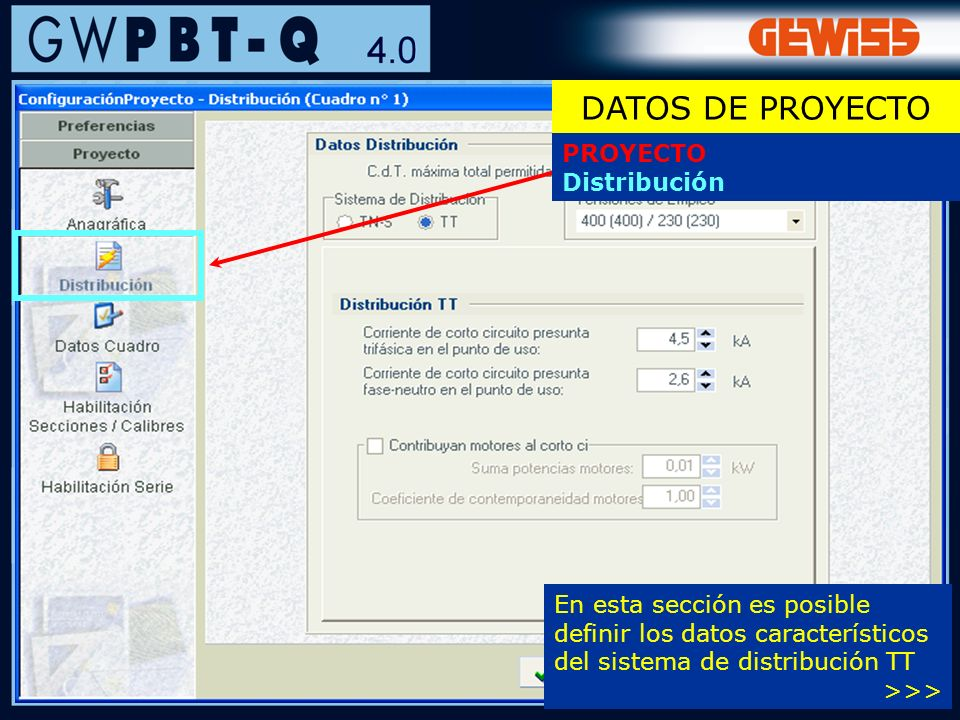 DATOS DE PROYECTO PROYECTO Distribución