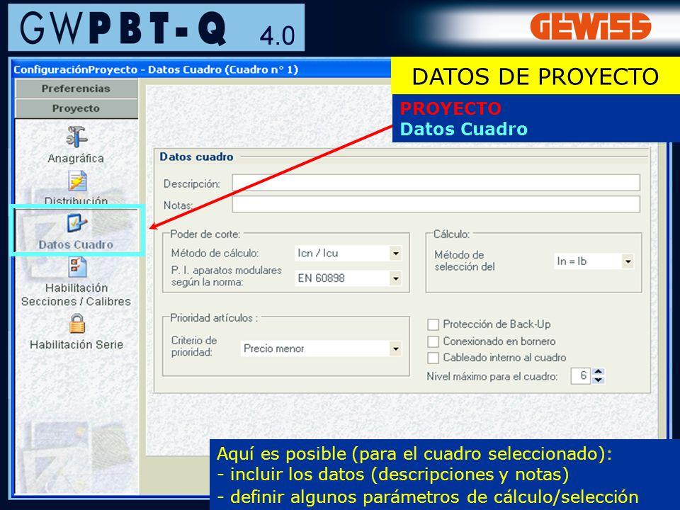 DATOS DE PROYECTO PROYECTO Datos Cuadro