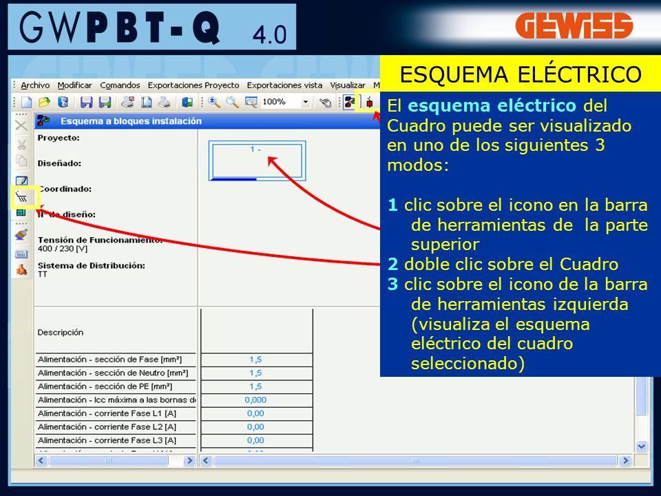 ESQUEMA ELÉCTRICO El esquema eléctrico del Cuadro puede ser visualizado en uno de los siguientes 3 modos:
