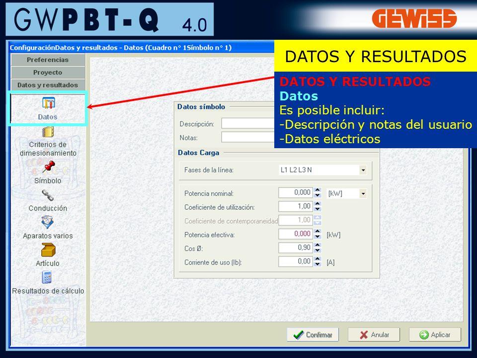 DATOS Y RESULTADOS DATOS Y RESULTADOS Datos Es posible incluir: