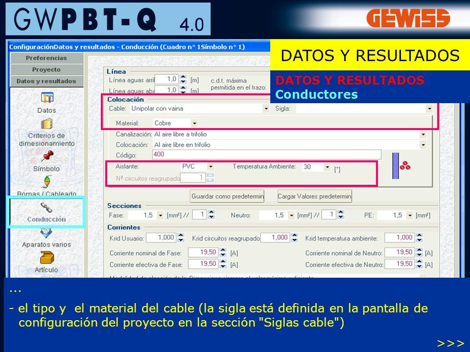 DATOS Y RESULTADOS DATOS Y RESULTADOS Conductores ...
